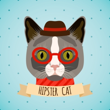 Hipster cat with glasses and hat portrait with ribbon poster vector illustration