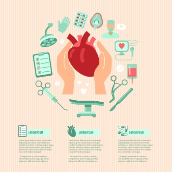 Cardiac surgery design concept wit human hands holding heart and operation icons vector illustration