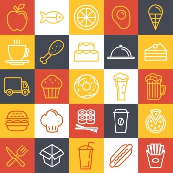Vector fast food icons and sign in trendy linear style  catering and cafe emblems