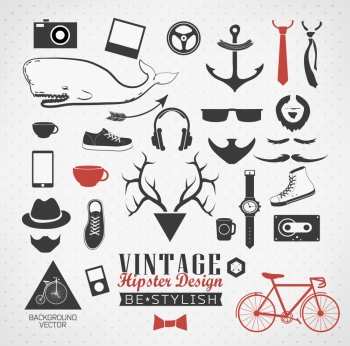 Hipster style elements icons and labels can be used for retro vintage website