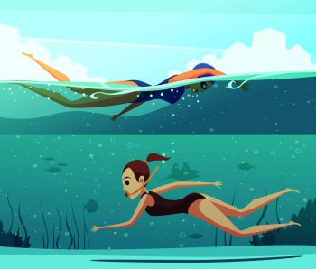 You Searched For Cartoon Set Of Horizontal Banners With Two Women Doing Water Sports And Swimming Underwater Isolated Vector Illustration Water Sports Banners Set