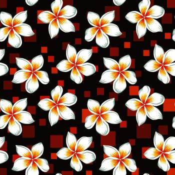 6d813f222faf Exotic beautiful tropical flowers white plumeria frangipani seamless  botanical pattern realistic vector on the abstract orange