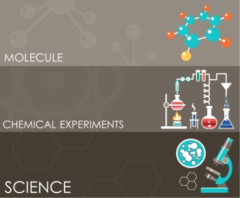 Three science banners Infographics Flat design style Vector illustration