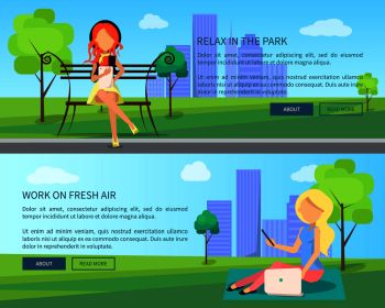 Relax in park work on fresh air set of web banners with women working on electronic devices set of vector illustrations on cityscape background Work