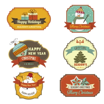 Collection of vintage retro Christmas labels in vector format