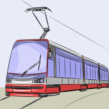 Modern city tram isolated on a blue background Tram