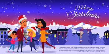 Postcard with Merry Christmas on city background Vector illustration of happy family in red hats father mother two daughters on white field Behind f