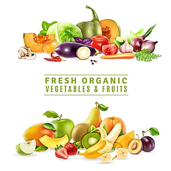 Fresh Vegetables And Fruits Design Concept Colorful organic design concept with two collections of fresh vegetables and fruits in realistic style ve