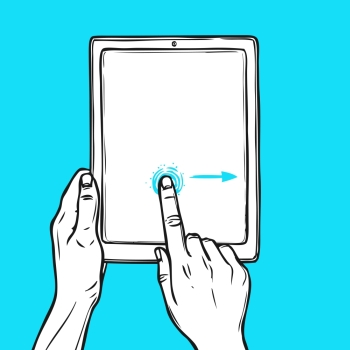 Hand holding tablet device and touching a button sketch on blue background vector illustration
