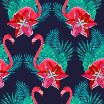 Flamingo birds and tropical hibiscus bright flowers tropical foliage colorful composition hawaiian seamless pattern abstract vector illustration Flam