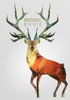 Abstract polygonal deer Geometric hipster illustration Polygonal antlers
