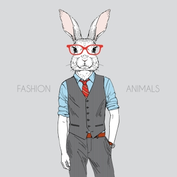 Anthropomorphic design Hand drawn illustration of rabbit dressed up in office style