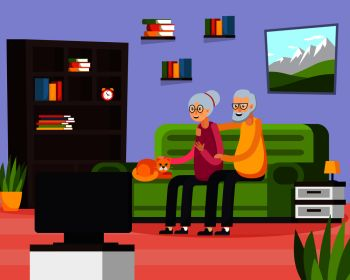 Flat aged elderly people composition with two people watch on tv their favorite show vector illustration Flat Aged Elderly People Composition