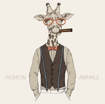 anthropomorphic design fashion illustration of giraffel dressed up in retro style