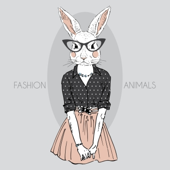 anthropomorphic design fashion illustration of bunny girll dressed up in hipster style