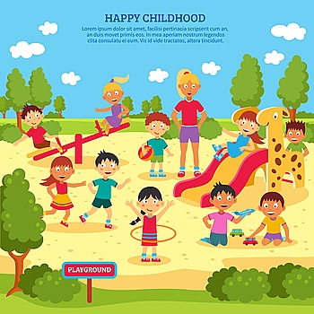 Kids Playing Poster Illustration of children playing outdoors with bright summer background vector Illustration