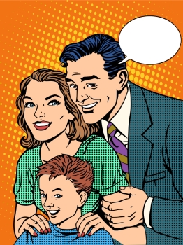 Happy family dad mom and son pop art retro style Happy family dad mom and son