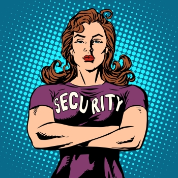 woman security guard pop art retro style Security Agency protection and sport woman security guard