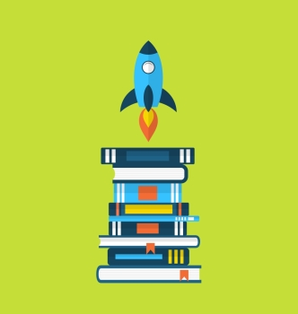 Illustration concept of start up idea flat icons of heap textbooks and rocket  vector