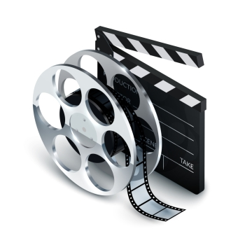 Cinema concept realistic with clapboard and film reel 3d vector illustration