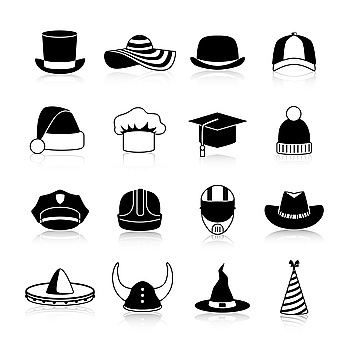 Hats And Caps Black Icons Hats and caps black icons set of motorcycle helmet bowler baseball cap straw hat halloween and cowboy hats clown and wint