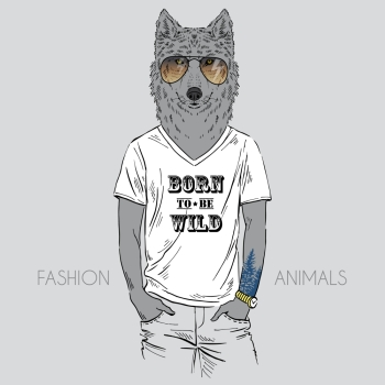 Anthropomorphic design Illustration of wolf dressed up in t shirt with quote