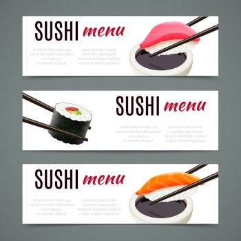 Sushi menu banners horizontal with salmon roll and chopsticks isolated vector illustration
