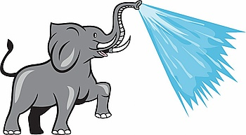 Illustration of an african elephant marching prancing spraying water from trunk viewed from the side set on isolated white background done in cartoon