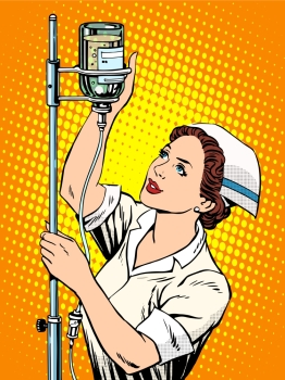 Nurse medicine dropper pop art retro style Nurse medicine dropper