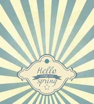 Vintage Spring Frame On A Grunge Concerntric Radial Background And Title Inscription