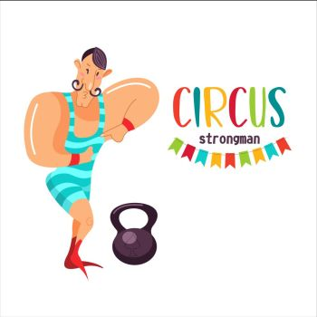 Circus artist Strongman champion flexing its muscles Vector illustration Isolated on a white background