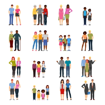 Buddies Friends Flat icons Collection Buddies and friends together flat icons collection with adults colleagues teenagers and kids abstract isolated