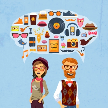 Hipster fashion concept with girl man and speech bubble with trendy icons vector illustration