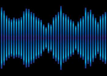 Music inspired blue and black background equaliser with sound peaks