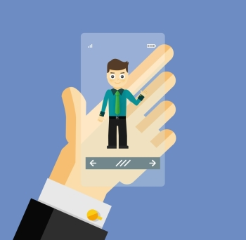 Human hand holding transparent screen smartphone with virtual assistant  businessman Human hand holding transparent screen smartphone with virtual a