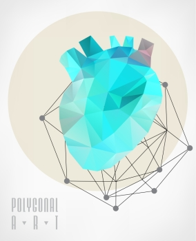 Abstract polygonal heart Geometric hipster illustration low poly illustration Ladybird polygonal
