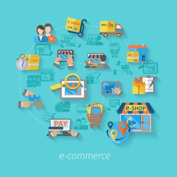 Shopping e commerce concept with online byuing retail service icons flat vector illustration