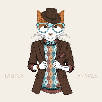 anthropomorphic design fashion illustration of cat dressed up in hipster style