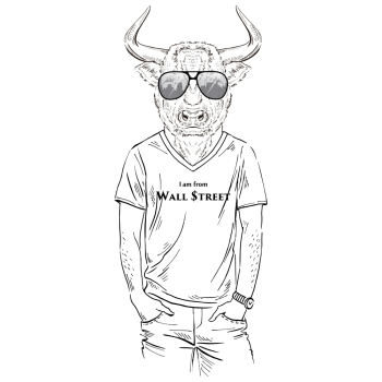 anthropomorphic design fashion illustration of bull dressed up in t shirt