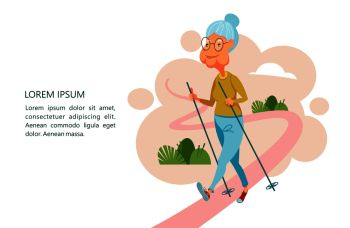 Older people lead an active lifestyle Old people play sports An elderly man engaged in Nordic walking Grandma is on the path with sticks Vector il