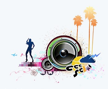 Grunge Camera Vector : Vector illustration of grunge abstract party background with music