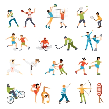 Kids Sport Icons Set Flat icons set of kids doing different types of sports from football to archery isolated vector illustration