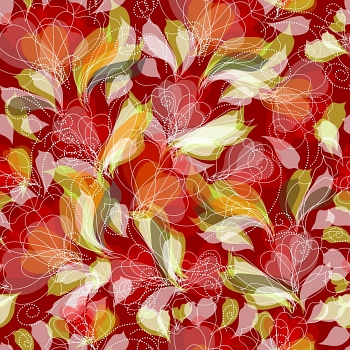 Seamless vintage floral pattern with painting flowers
