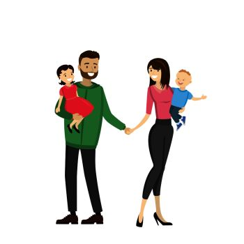 Happy family  father mother daughter son isolated on white background cartoon vector illustration Happy family  father mother daughter son