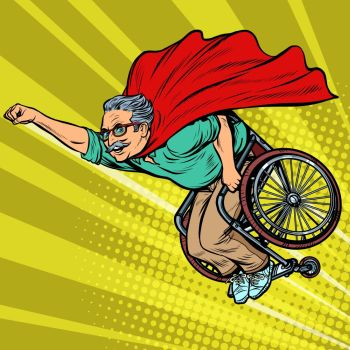 man retired superhero disabled in a wheelchair Health and longevity of older people Pop art retro vector illustration drawing vintage kitsch man re