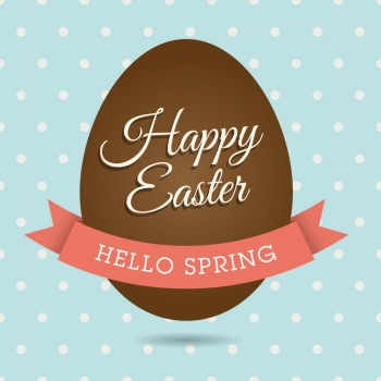 Happy easter card chocolate egg