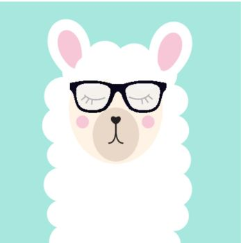 10fb80b995 Little cute llama with glasses for card and shirt design Vector  Illustration EPS10 Little cute llama
