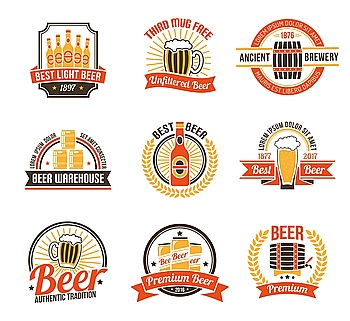 Brewery Logo Set Brewery Logo Set Brewery Labels Set Brewery Emblems Set Brewery Vector Illustration Brewery Flat Symbols Brewery Design Set