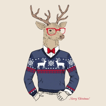 deer male dressed up in Christmas party style