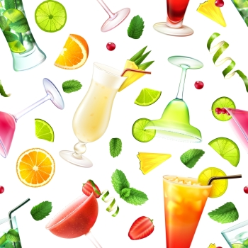 Cocktail seamless pattern with alcohol drinks in glasses and decoration vector illustration